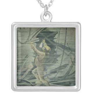 A Deep Sea Diver Looking at the Wrecks Silver Plated Necklace