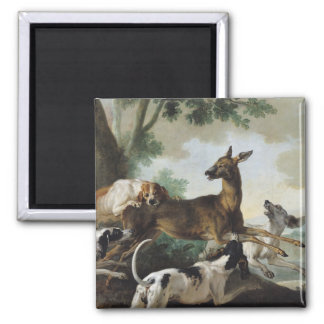 A Deer Chased by Dogs, 1725 2 Inch Square Magnet