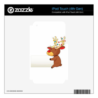 A deer holding an empty signboard skin for iPod touch 4G