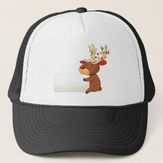 A deer holding an empty signboard trucker hat