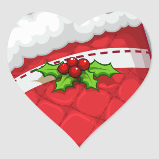 A deer hugging the gift above the red sock heart sticker