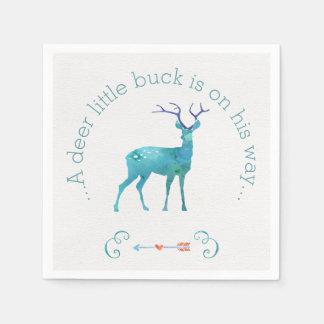 A Deer Little Buck Watercolor Baby Shower Napkin