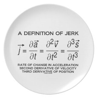 A Definition Of Jerk (Physics Equation Humor) Melamine Plate