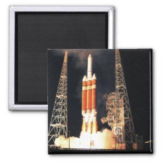 A Delta IV Heavy rocket lifts off Magnet