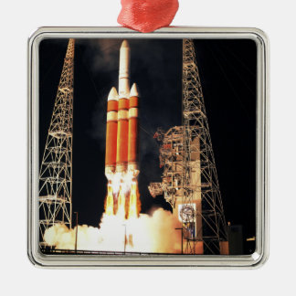 A Delta IV Heavy rocket lifts off Square Metal Christmas Ornament