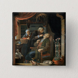 A Dentist Examining The Tooth of an Old Man (oil o Button