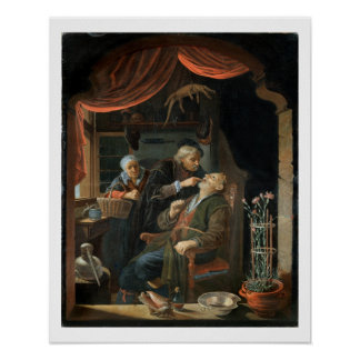 A Dentist Examining The Tooth of an Old Man (oil o Poster