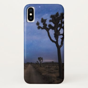 A Desert Road and Joshua Trees at Night iPhone X Case