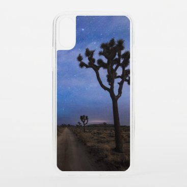 A Desert Road and Joshua Trees at Night iPhone XS Case