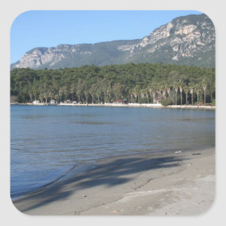 A Deserted Beach: An Unspoiled Beauty Square Stickers