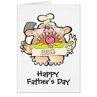 A DETERMINED BBQ DAD WITH SKILLET FATHERS DAY CARD