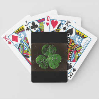A Dew Covered Shamrock Bicycle Playing Cards