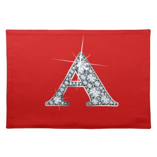 """A"" Diamond Bling American MoJo Placemat"