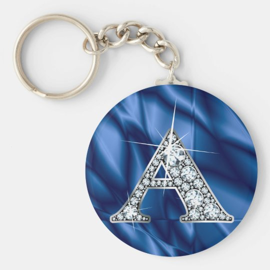 """A """"Diamond Bling"""" & Blue Stained Glass Keychain"""