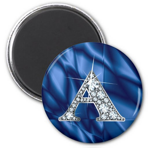 """A """"Diamond Bling"""" & Blue Stained Glass Refrigerator Magnets"""