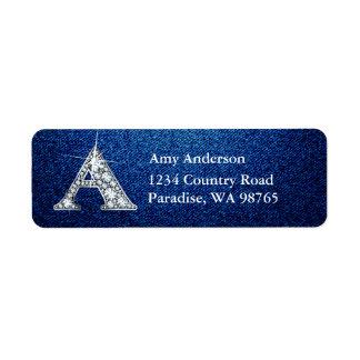 A Diamond Bling Monogram Return Address Label