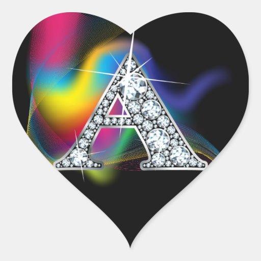 """A"" Diamond Bling on Rainbow Swirl Heart Sticker"