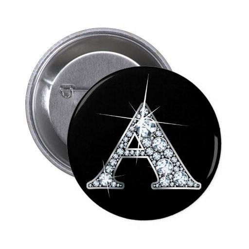 """A"" Diamond Bling Print Button"
