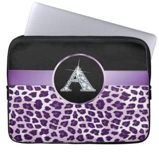 "A ""Diamond"" Purple Leopard & Ribbon Electronics Ba Computer Sleeve"