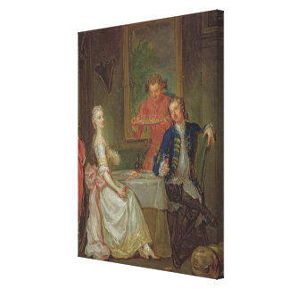 A Dinner Conversation (A Man and Woman Drinking at Canvas Print