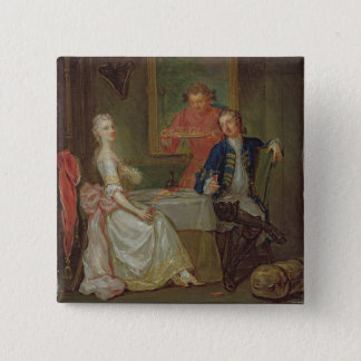 A Dinner Conversation (A Man and Woman Drinking at Pinback Button