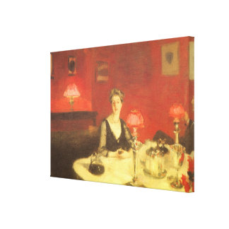 A Dinner Table at Night by Sargent, Victorian Art Canvas Print
