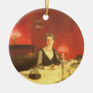 A Dinner Table at Night by Sargent, Victorian Art Ceramic Ornament