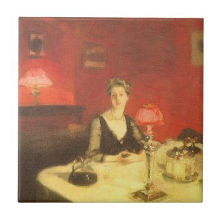 A Dinner Table at Night by Sargent, Victorian Art Ceramic Tile