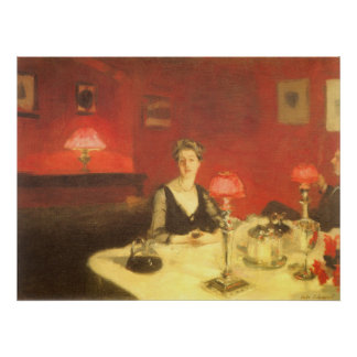 A Dinner Table at Night by Sargent, Victorian Art Poster