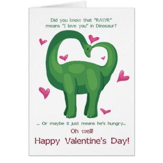 A Dinosaur Valentine Greeting Cards