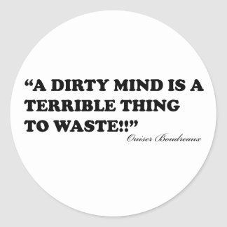 A Dirty Mind Is A Terrible Thing To Waste Classic Round Sticker