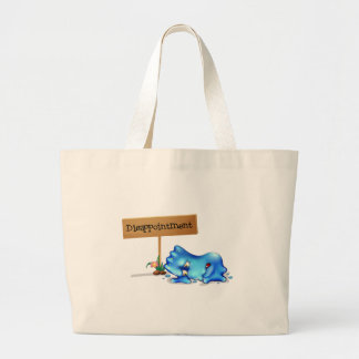 A disappointed monster in front of a wooden signag jumbo tote bag