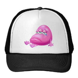 A disappointed pink beanie monster trucker hat