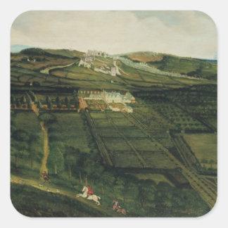 A Distant View of Corfe Castle Square Sticker