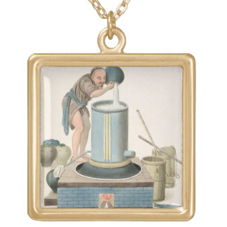 A Distiller, plate 24 from 'The Costume of China', Gold Plated Necklace