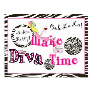 """""""A DIVA Spa Party!"""" Postcard Invites"""