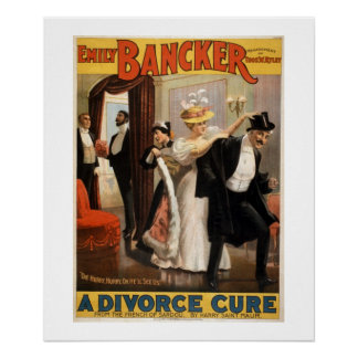A Divorce Cure Vintage Theater Poster. Poster