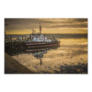 A Docked Pilot Boat at Sunrise Halifax, NS Photo Print