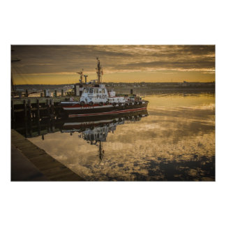 A Docked Pilot Boat at Sunrise Halifax, NS Poster