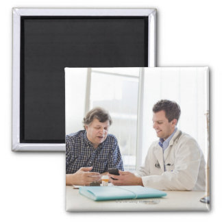 A doctor meeting with a patient and talking and magnet