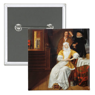 A Doctor Visiting a Young Lady in a Bedroom (oil o Button