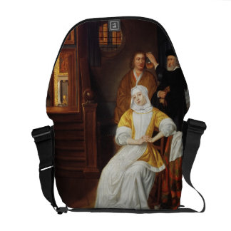 A Doctor Visiting a Young Lady in a Bedroom (oil o Messenger Bags