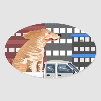A dog and a truck. oval sticker