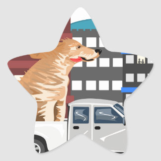 A dog and a truck. star sticker