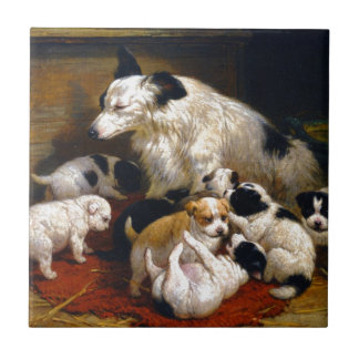 A dog and her puppies small square tile