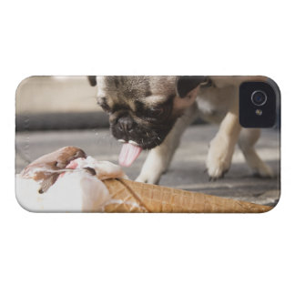 A dog eating an ice cream from a pavement iPhone 4 case
