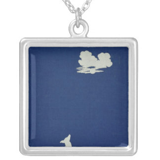 A Dog Howling at the Moon Silver Plated Necklace