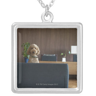 A dog in the riving room square pendant necklace