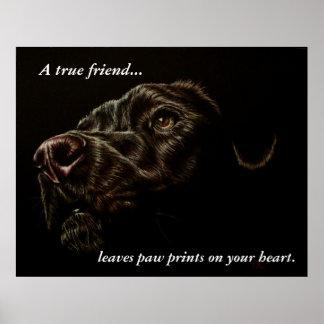 A Dog Leaves Paw Prints - Black Dog Poster