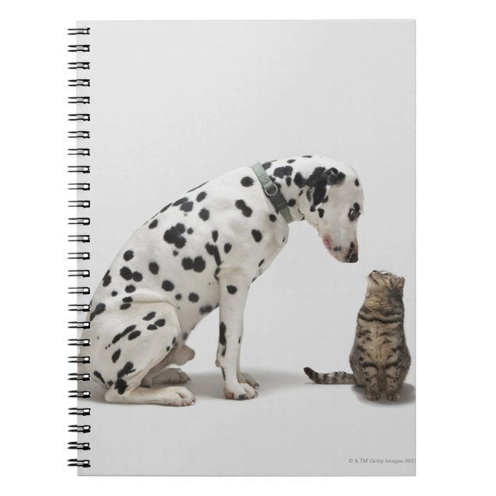 A dog looking at a cat spiral notebook